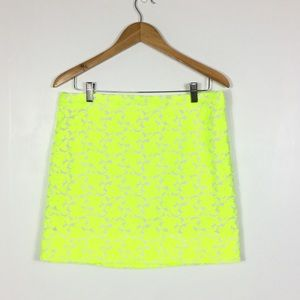 J. Crew neon yellow floral embroidered skirt 10